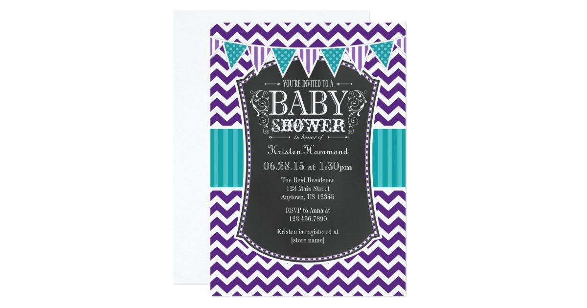 teal purple chalkboard chevron baby shower invite zazzle