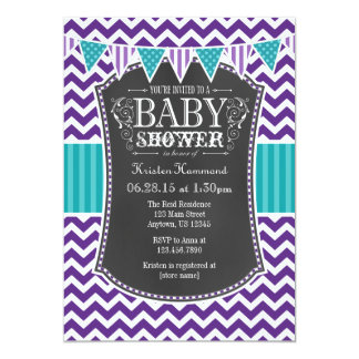Teal Purple Chalkboard Chevron Baby Shower Invite