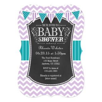 Teal Purple Chalkboard Chevron Baby Shower Invite