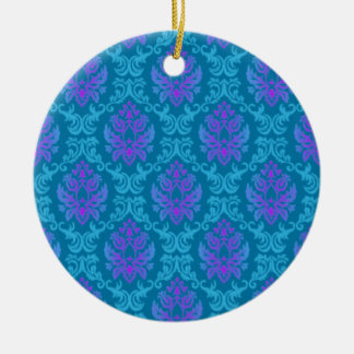Teal & Purple Damask Round Ceramic Ornament