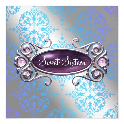 Teal Purple Damask Sweet 16 Birthday Party Invitation