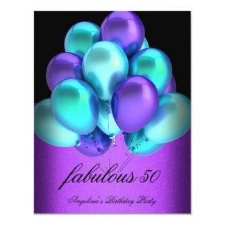 "Teal Purple Fabulous Black Balloons Party 4.25"" X 5.5"" Invitation Card"