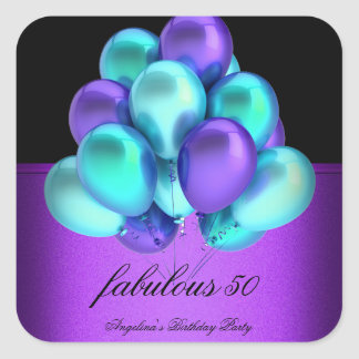 Teal Purple Fabulous Black Balloons Party Square Sticker
