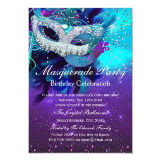 Teal Purple Feather Mask Masquerade Birthday Card