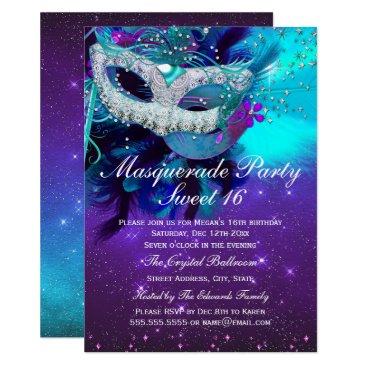 Zizzago Teal Purple Feather Mask Masquerade Invitation