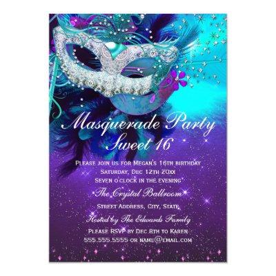 Masquerade Party Celebration Fancy Gold Invitation – Masquerade Birthday Invitations