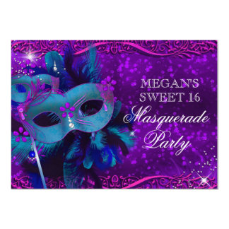 Teal & Purple Feather Mask Masquerade Sweet 16 Card