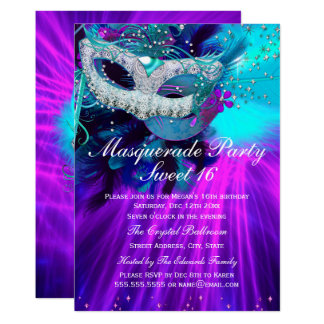 Teal Purple Feather Masked Masquerade Party Card