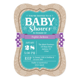 Teal Purple Floral Flower Baby Shower Invitation