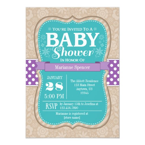 teal purple floral flower baby shower invitation zazzle
