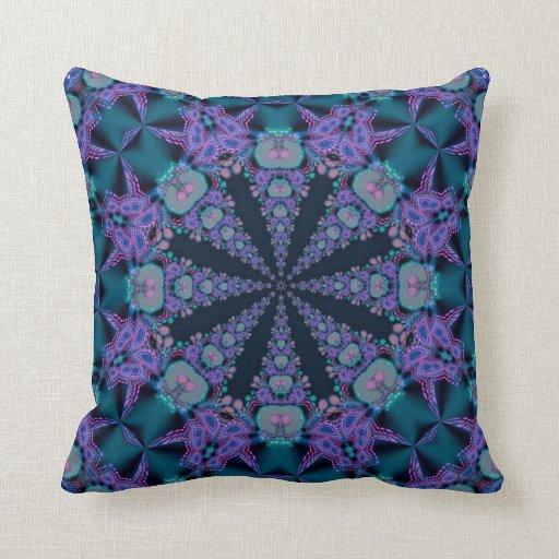 Teal Purple Geo-Fractal Art Psychedelic Cushion