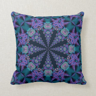 Teal Purple Geo-Fractal Art Psychedelic Cushion Pillow