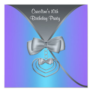 Teal Purple Girls 10th Birthday Party Card