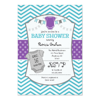 Teal Purple Gray Chevron Baby Shower Invitation