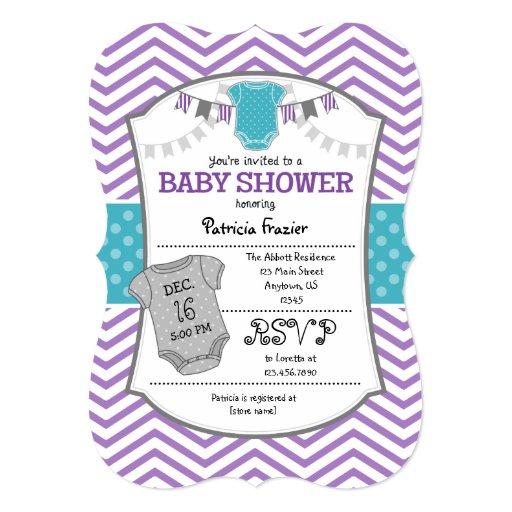 teal purple gray chevron baby shower invitation zazzle