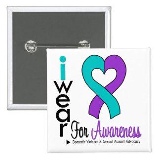 Teal & Purple Heart Ribbon Domestic Violence Button