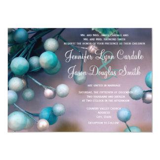 Teal Purple Holiday Wreath Wedding Invitations