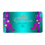 Teal Purple Hot Pink Gold Quinceanera Label