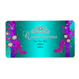 Teal Purple Hot Pink Gold Quinceanera Shipping Label