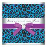 Teal Purple Leopard Sweet 16 Party 5.25x5.25 Square Paper Invitation Card