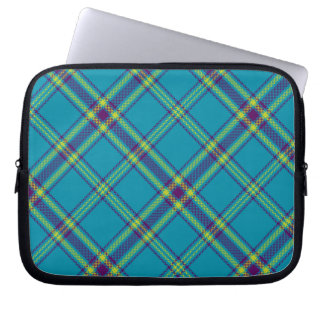Teal/Purple/Lime Tartan Plaid Laptop Sleeve
