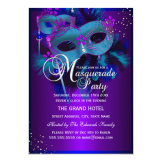 Teal & Purple Masks Masquerade Party Invite