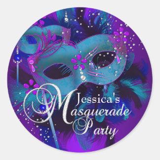 Teal & Purple Masks Masquerade Party Sticker