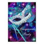 """Teal & Purple Masquerade Ball Party Invitation 3.5"""" X 5"""" Invitation Card"""