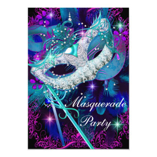 Teal & Purple Masquerade Ball Party 5x7 Paper Invitation Card