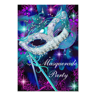 Teal & Purple Masquerade Ball Party Invitation