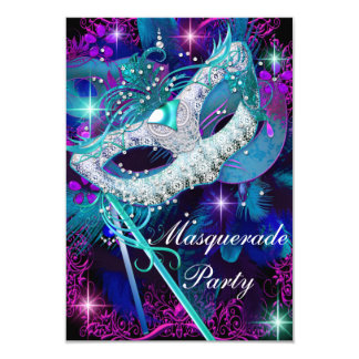 Teal & Purple Masquerade Ball Party Invitation