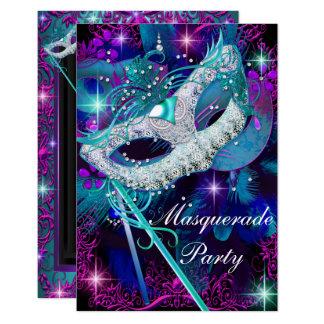 Teal & Purple Masquerade Ball Party Invitation Sml