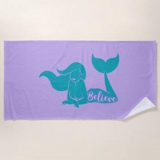 Teal & Purple Mermaid Beach Towel