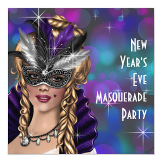 """Teal Purple New Years Eve Masquerade Party 5.25"""" Square Invitation Card"""