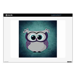 "Teal & Purple Owl 15"" Laptop Skin"