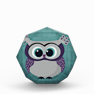 Teal & Purple Owl Acrylic Award