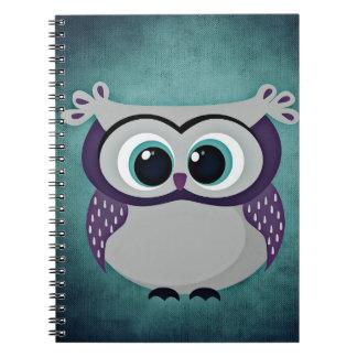 Teal & Purple Owl Spiral Notebook