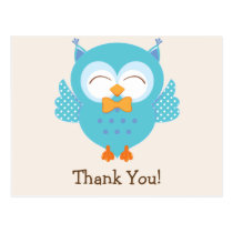 Teal & Purple Owl Thank You Postcard