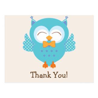 Teal & Purple Owl Thank You Postcard