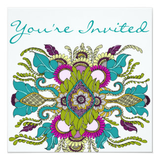 Teal & Purple Paisley Henna Shower Invitation
