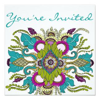 Teal & Purple Paisley Henna Shower Invitation