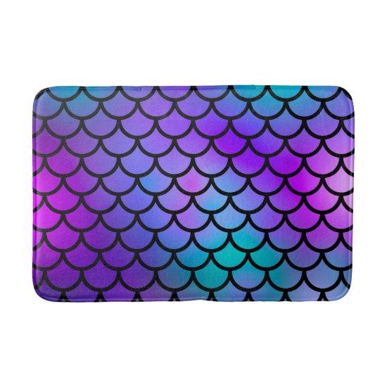 Teal Purple Pink Blue Mermaid Scales Fantasy Fish Bath Mat