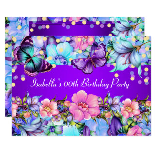 Teal Purple Pink Butterfly Birthday Party Invite