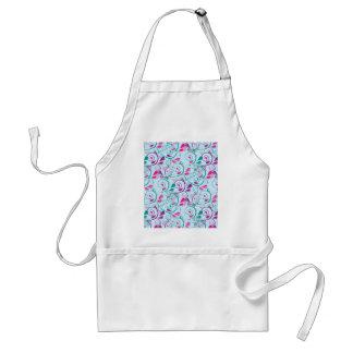 Teal Purple Pink Floral Flourish Swirls on Blue Apron