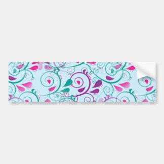 Teal Purple Pink Floral Flourish Swirls on Blue Car Bumper Sticker