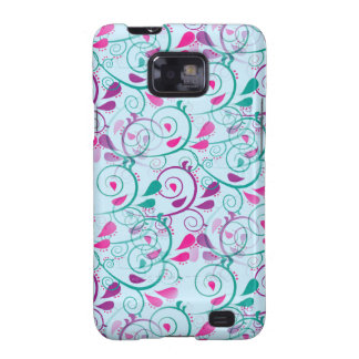 Teal Purple Pink Floral Flourish Swirls on Blue Samsung Galaxy S2 Covers
