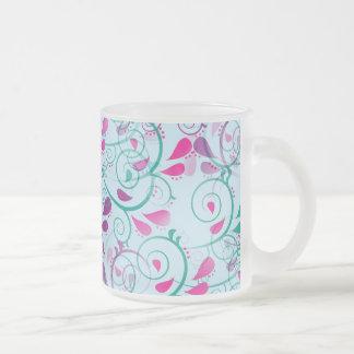 Teal Purple Pink Floral Flourish Swirls on Blue Frosted Glass Coffee Mug