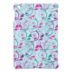 Teal Purple Pink Floral Flourish Swirls on Blue Case For The iPad Mini