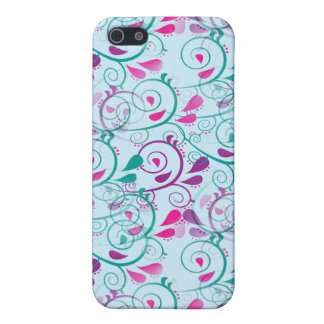 Teal Purple Pink Floral Flourish Swirls on Blue iPhone 5 Cover
