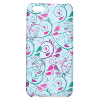Teal Purple Pink Floral Flourish Swirls on Blue Case For iPhone 5C
